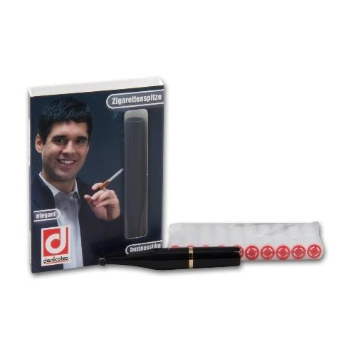 Zigarettenspitze Denicotea Standard Slimline aus Kunststoff in schwarz gold mit 10 Filtern