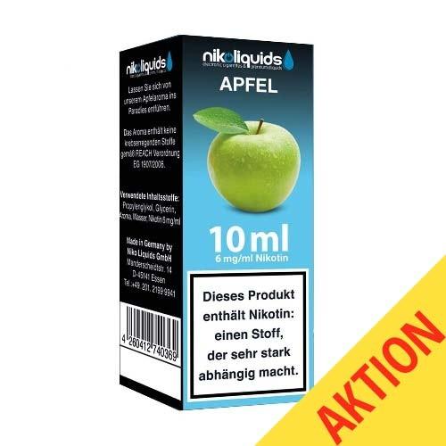 5 x Liquid Nikoliquids Apfel mit 6 mg/ml Nikotin