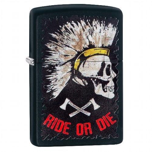 Zippo schwarz matt Punk Skull Design