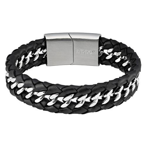 Armband ZIPPO Leder Edelstahl mit Schiebeverschluss 22x1,8x0,7 cm