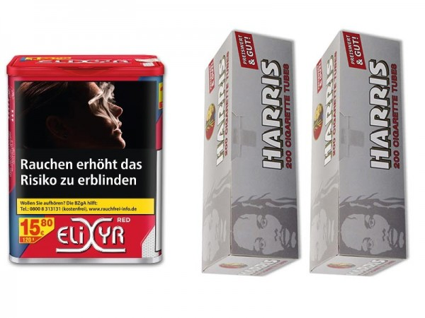 Zigarettentabak Elixyr Red 120 g + 400 Harris Hülsen