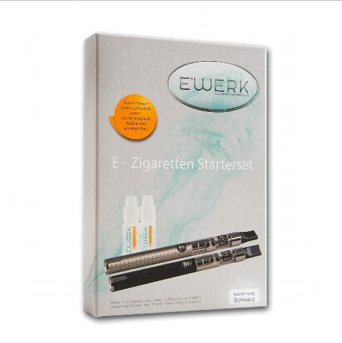 E-Zigarette E'Werk Starterset JustFog C14 PT 900 mAh 1,6 Ohm in schwarz mit 2 Liquids 6 mg