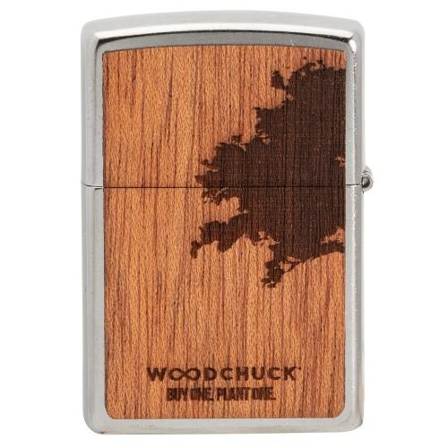 ZIPPO Sturmfeuerzeug Street chrom Mahogany Woodchuck + Flaschenöffner
