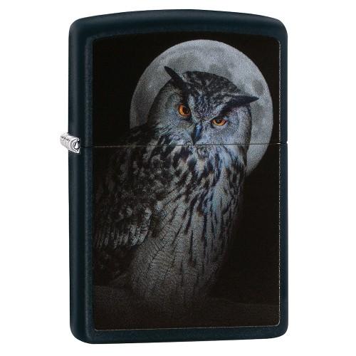 Zippo schwarz matt Owl and Moon