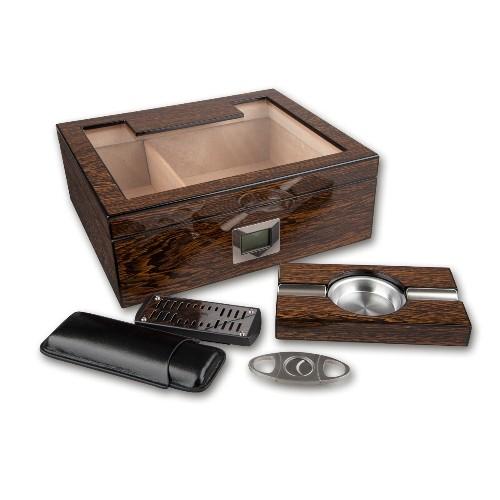 Humidor-Geschenkset aus Ironwood Holz lackiert in dunkelbraun glänzend