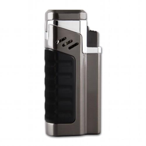 Feuerzeug Sky X4 Zigarre mit Jetflamme 4-fach aus Metall satiniert in anthrazitgrau matt schwarz