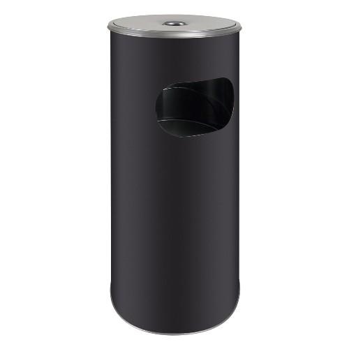 Standascher schwarz matt mit Abfallkorb 58 cm hoch Ø 20,5 cm