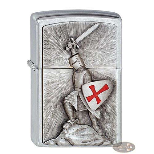 Feuerzeug Zippo Templer Victory aus Chrom gebürstet in silber seidenmatt mit Emblem