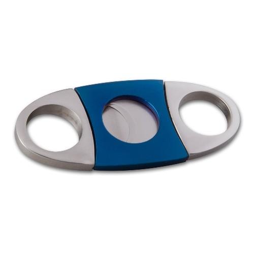 Zigarrencutter aus Metall Edelstahl in blau silber 22 mm Durchmesser