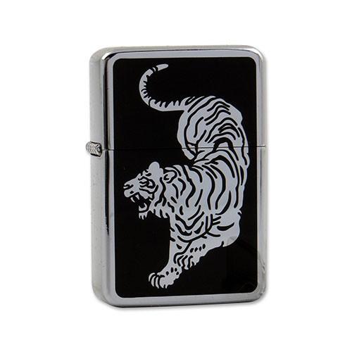 Feuerzeug JAM Benzin Tiger aus Chrom poliert Emaille in silber schwarz mit Dekor