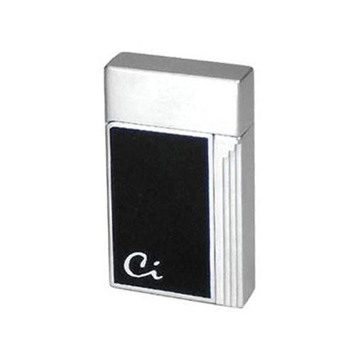 Feuerzeug Caseti Soleil mit Jetflamme aus Chrom Lack in schwarz silber