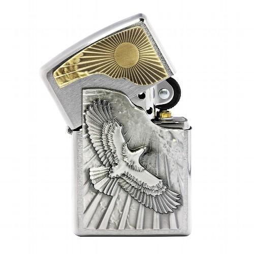 Feuerzeug Zippo Eagle Sun Fly aus Chrom gebürstet in silber gold seidenmatt mit Emblem