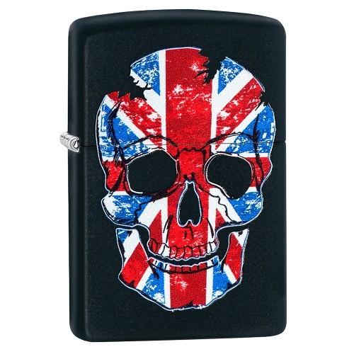 Zippo schwarz matt British Flag Skull Design