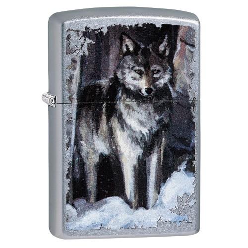Zippo Street chrom Wolf in Forest