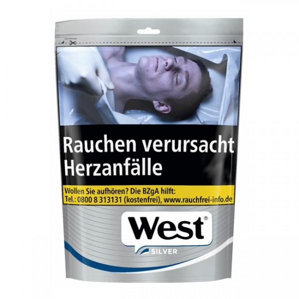 West Zigarettentabak Silver Volumen Zip-Beutel 105 Gramm