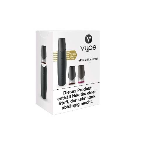E-Zigarette VYPE ePen 3 Starterset schwarz 12 mg vPro 2 Caps